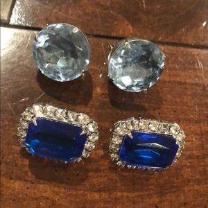 Blue & dark blue clip ons